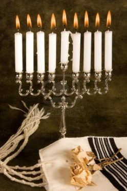hanukkah-candle-holder-and-a-jewish-prayer-shawl